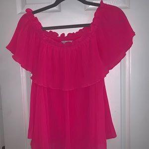 Hot pink off the shoulder top